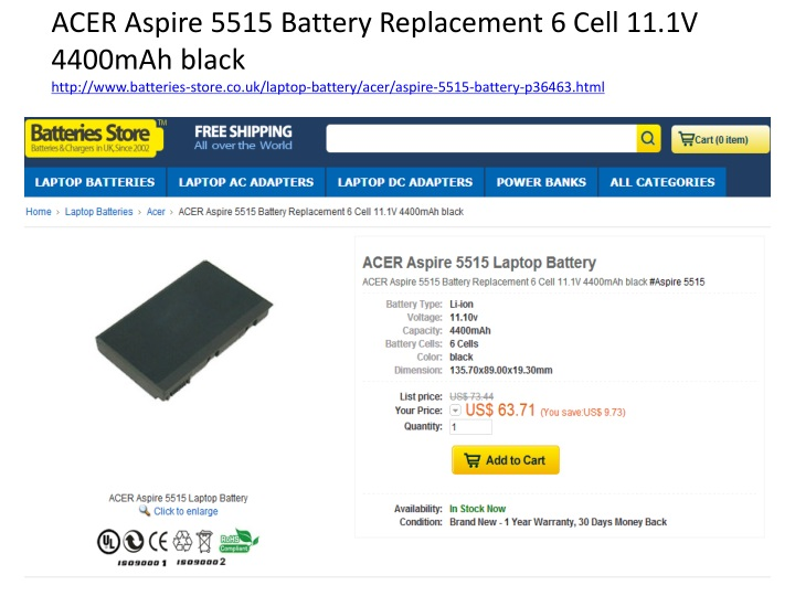 acer aspire 5515 battery replacement 6 cell n.