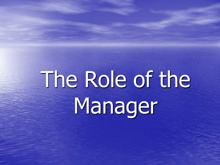 the role of the manager n.