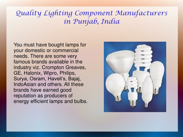 quality lighting component manufacturers n.