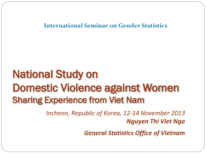 national study on domestic violence against women sharing experience from viet nam n.