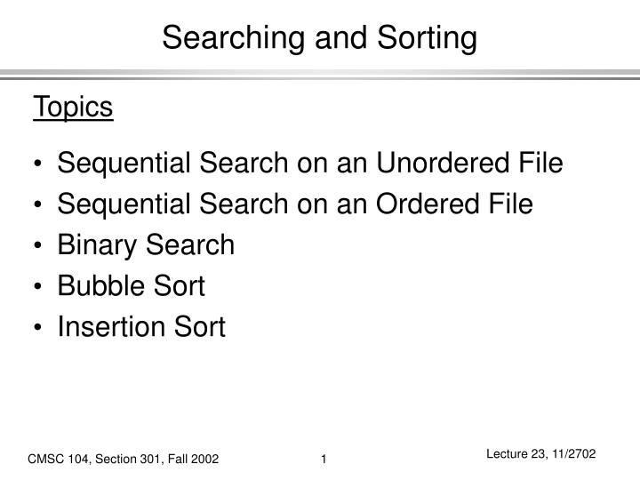 searching and sorting n.