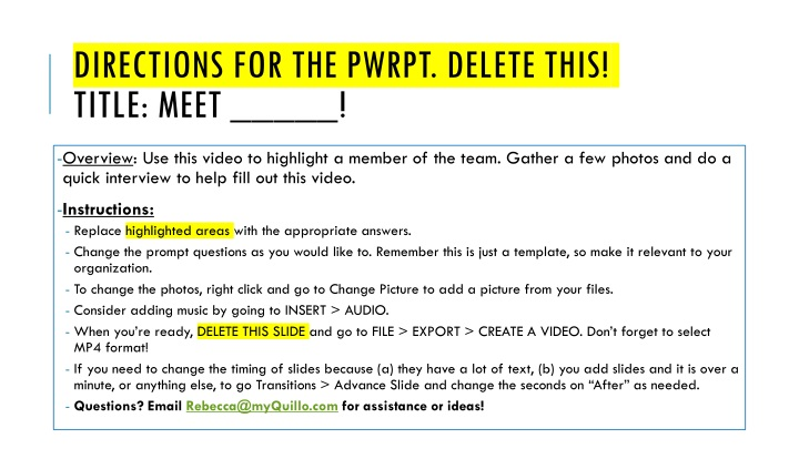 directions for the pwrpt delete this title meet n.