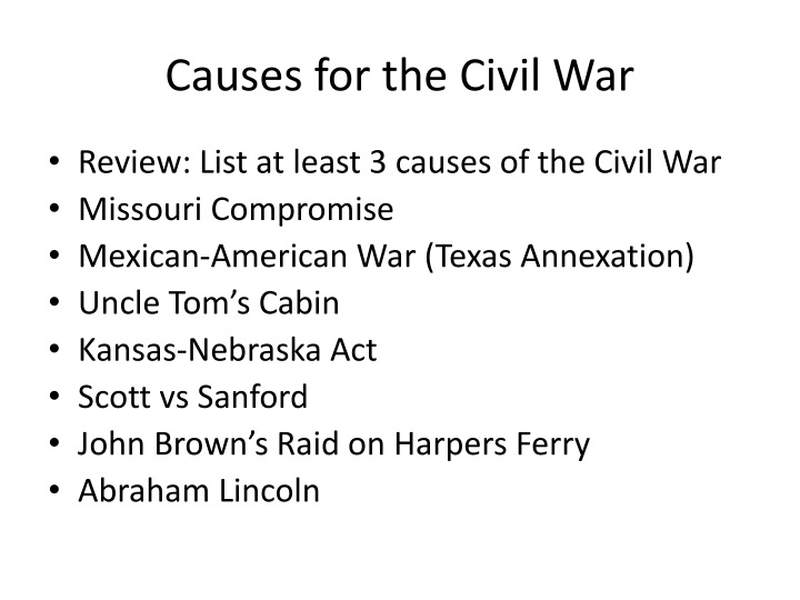 causes for the civil war n.