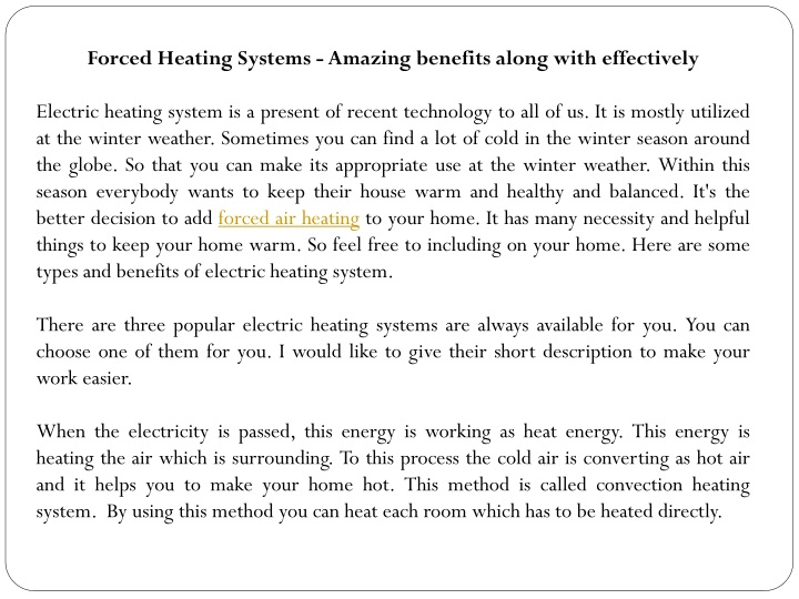 forced heating systems amazing benefits along n.