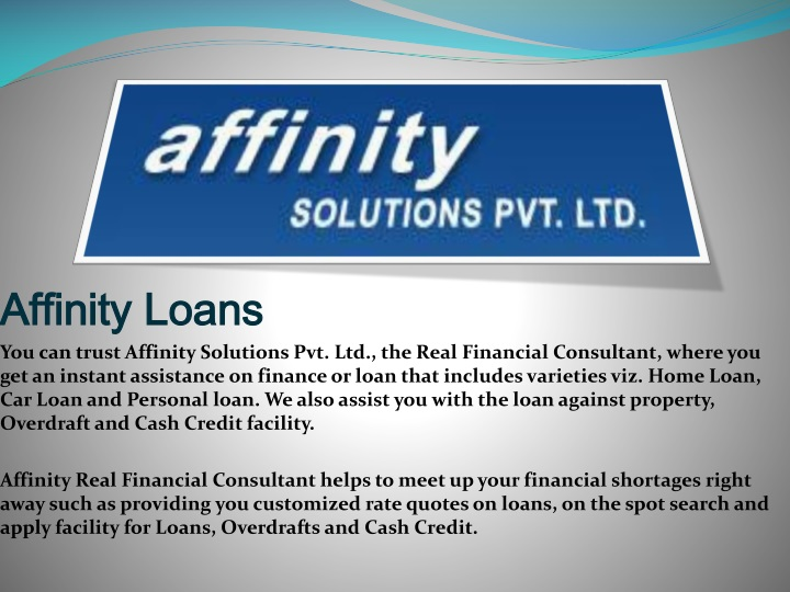 affinity loans you can trust affinity solutions n.