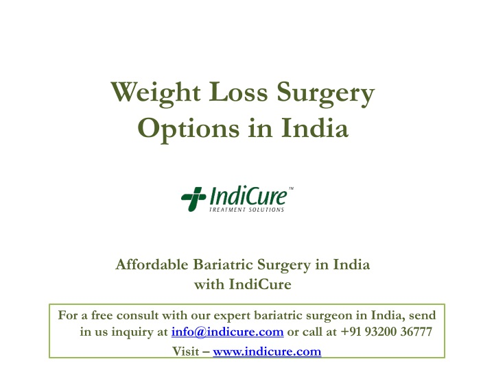 weight loss surgery options in india affordable bariatric surgery in india with indicure n.