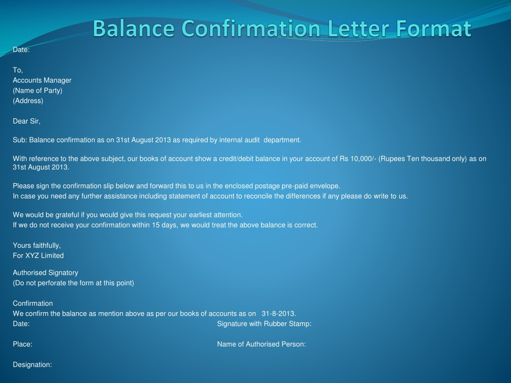 Ppt Balance Confirmation Letter Format Powerpoint Presentation Free Download Id 1400423
