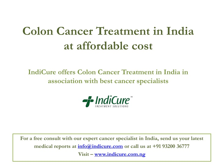 colon cancer treatment in india at affordable n.