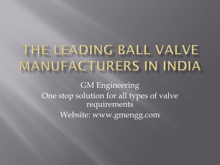 the leading ball valve manufacturers in india n.