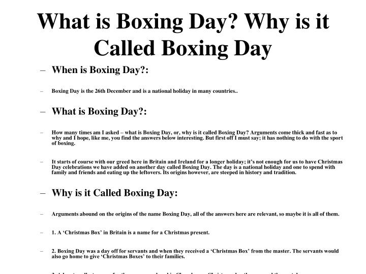 what is boxing day why is it called boxing day n.