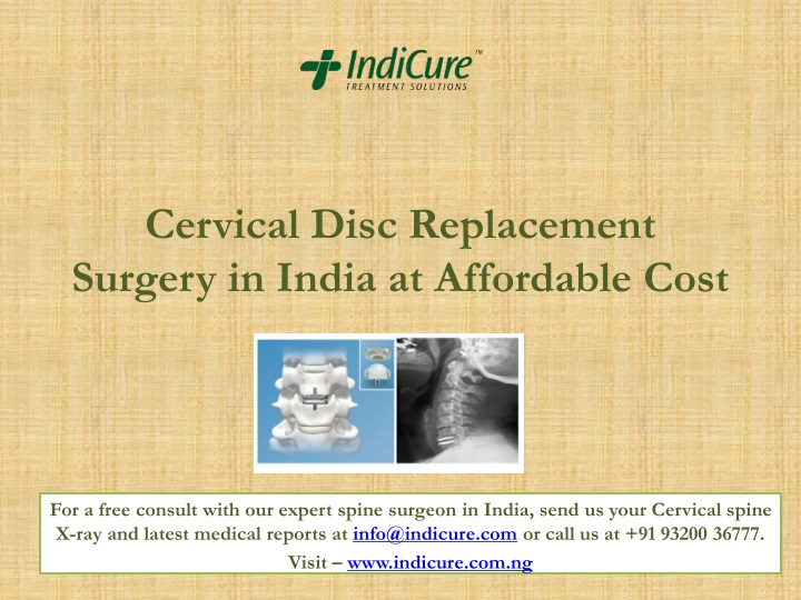 cervical disc replacement surgery in india at affordable cost n.