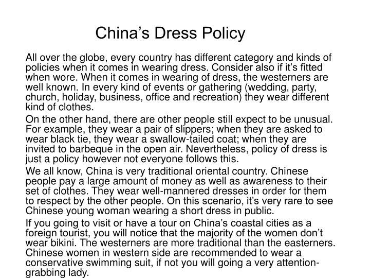 china s dress policy n.