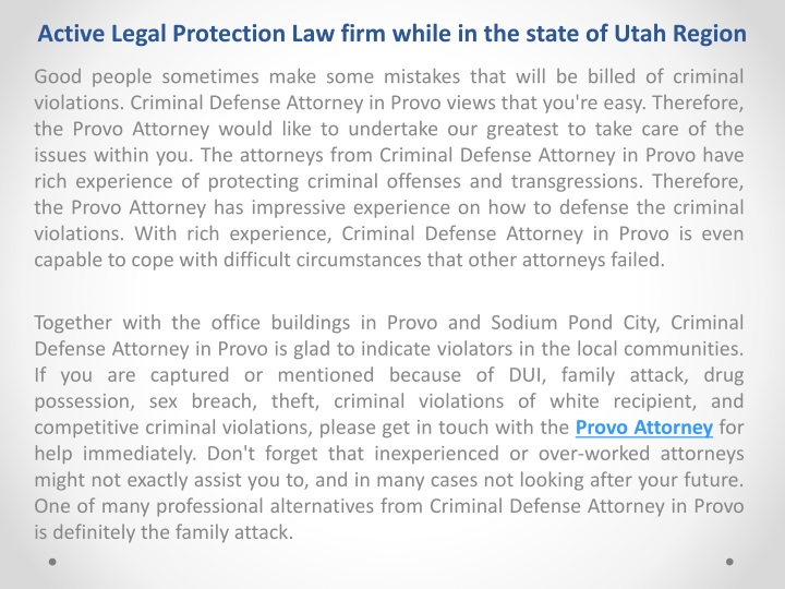 active legal protection law firm while in the state of utah region n.