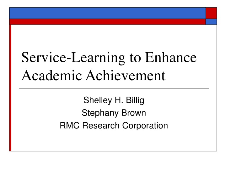 service learning to enhance academic achievement n.