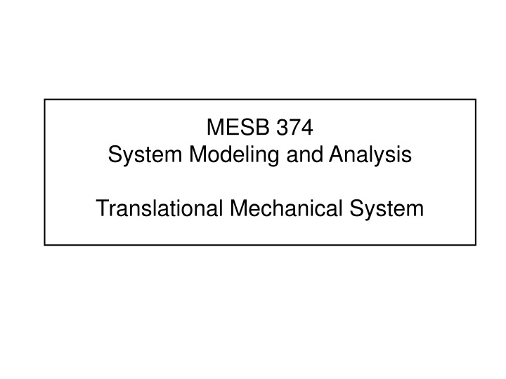 mesb 374 system modeling and analysis n.