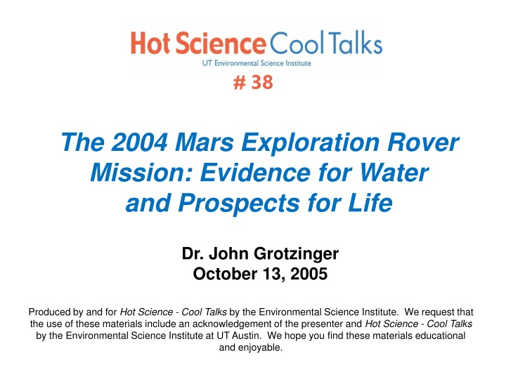 the 2004 mars exploration rover mission evidence for water and prospects for life n.