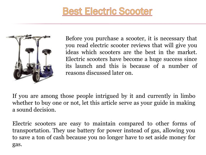 best electric scooter n.
