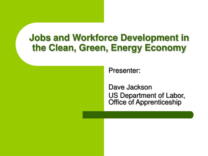 jobs and workforce development in the clean green energy economy n.