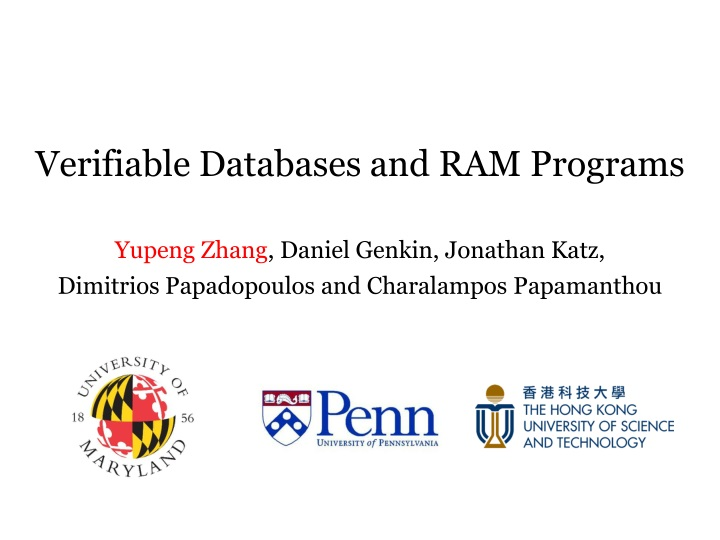 verifiable databases and ram programs n.