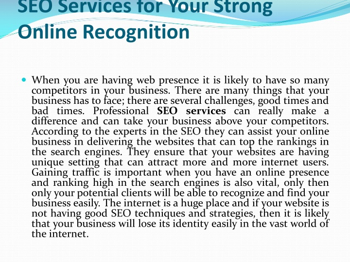 seo services for your strong online recognition n.