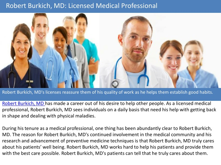 robert burkich md licensed medical professional n.