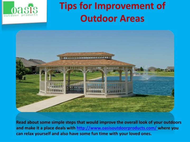 tips for improvement of outdoor areas n.