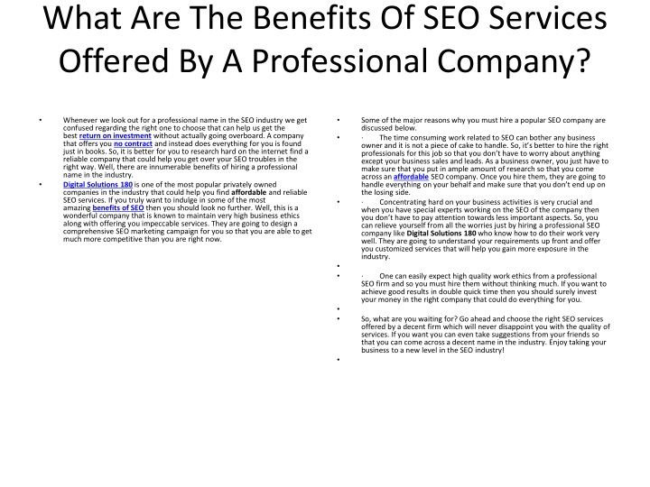 what are the benefits of seo services offered by a professional company n.