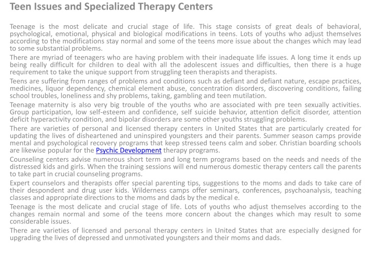 teen issues and specialized therapy centers n.