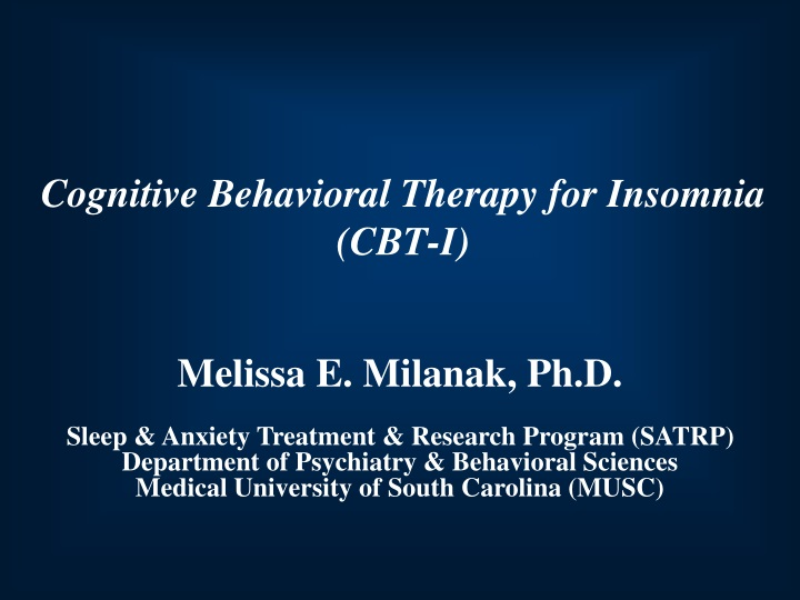 cognitive behavioral therapy for insomnia cbt i n.