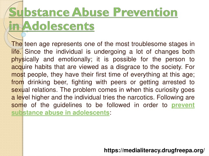 substance abuse prevention in adolescents n.
