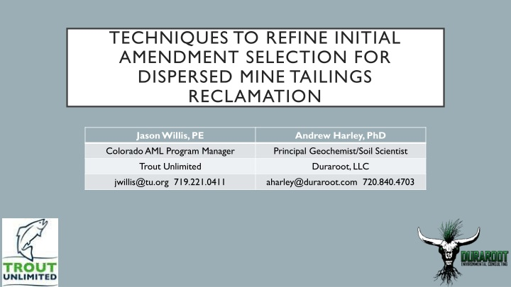 techniques to refine initial amendment selection for dispersed mine tailings reclamation n.