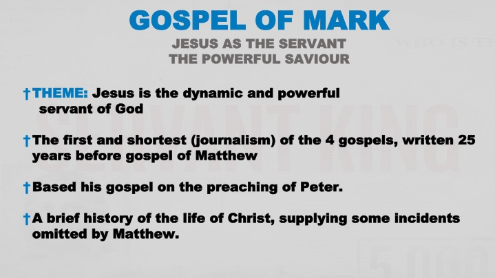 gospel of mark jesus as the servant the powerful n.