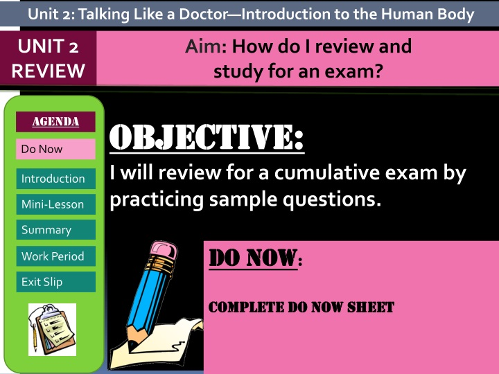 objective i will review for a cumulative exam by practicing sample questions n.
