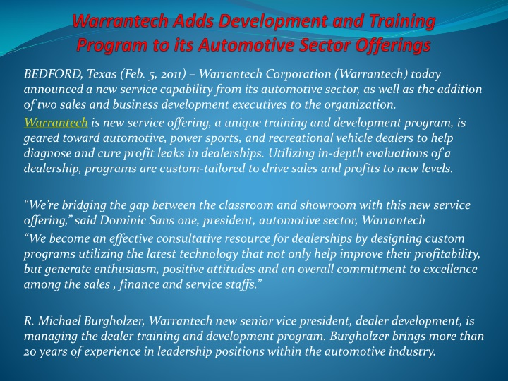 warrantech adds development and training program to its automotive sector offerings n.