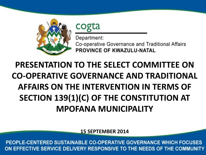 presentation to the select committee n.