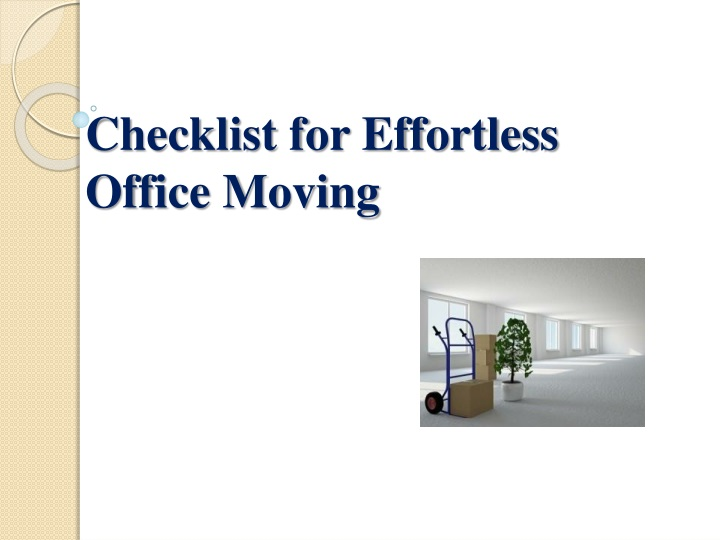 checklist for effortless office moving n.