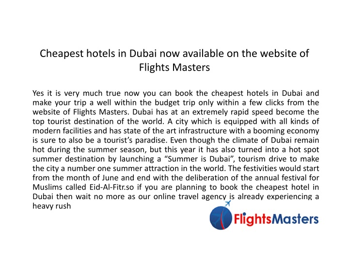 cheapest hotels in dubai now available on the website of flights masters n.