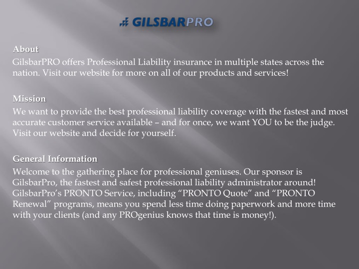 about gilsbarpro offers professional liability n.