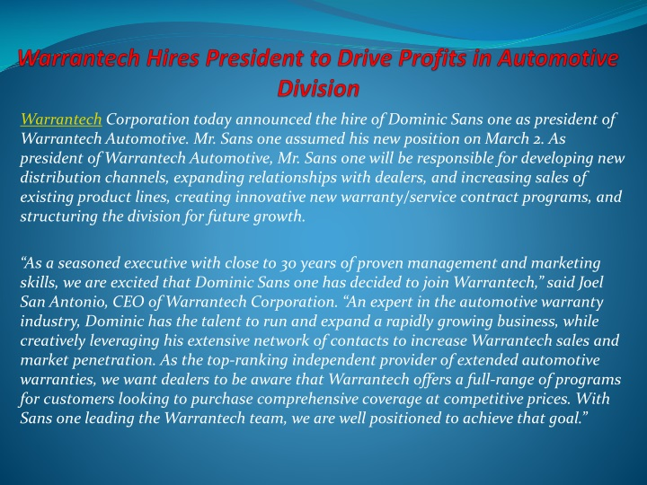 warrantech hires president to drive profits in automotive division n.