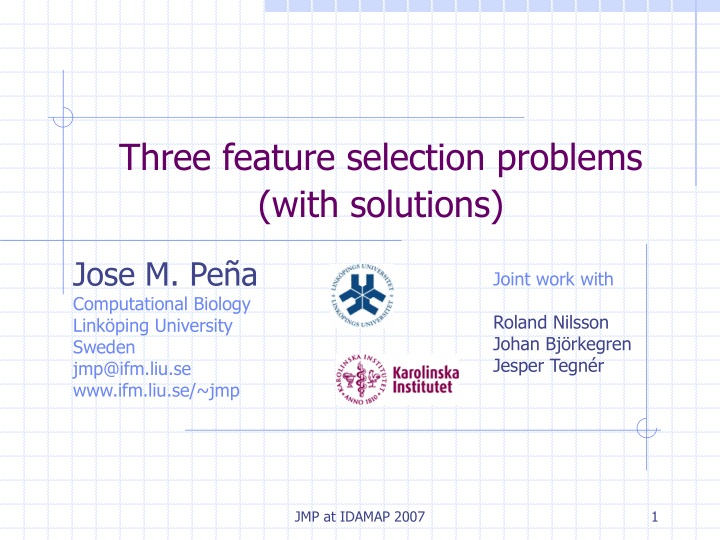 three feature selection problems with solutions n.