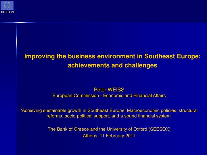 improving the business environment in s outheast europe achievements and challenges n.
