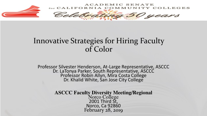 innovative strategies for hiring faculty of color n.