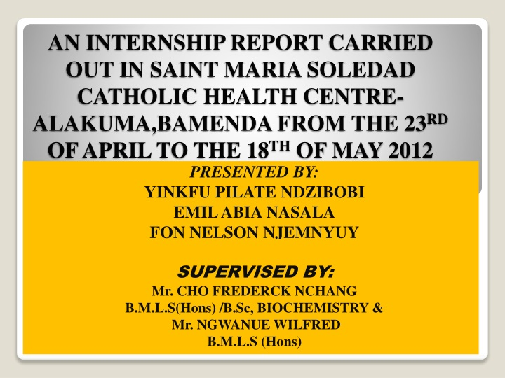 an internship report carried out in saint maria n.