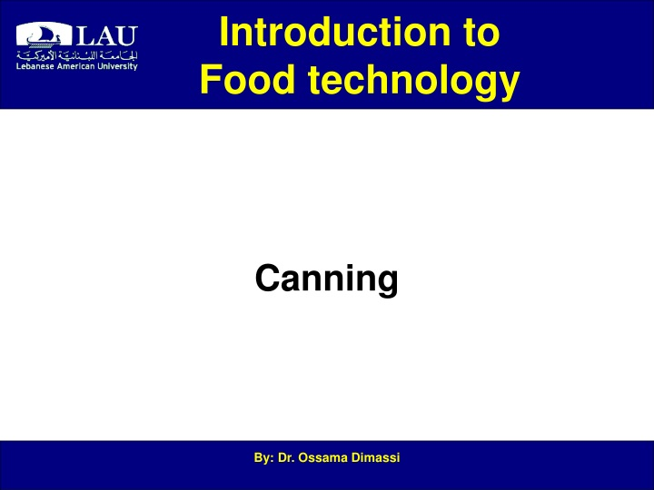 introduction to food technology n.