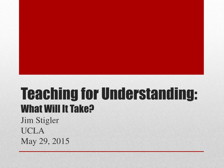teaching for understanding what will it take n.