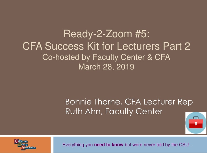 ready 2 zoom 5 cfa success kit for lecturers part 2 co hosted by faculty center cfa march 28 2019 n.