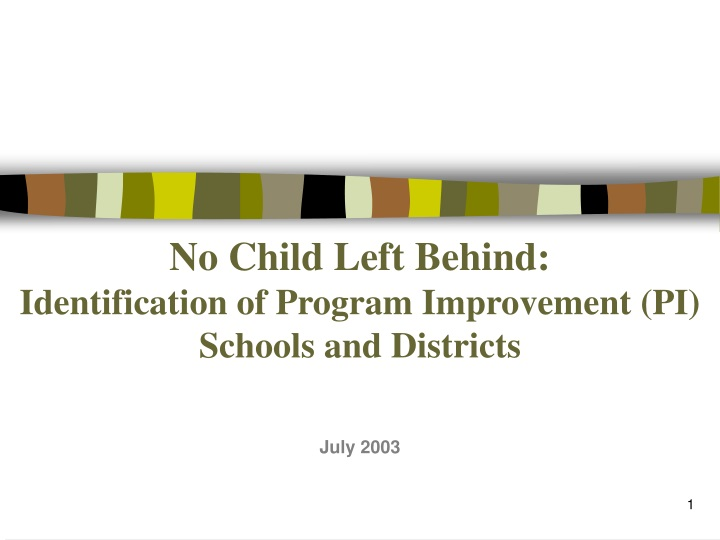 no child left behind identification of program improvement pi schools and districts n.
