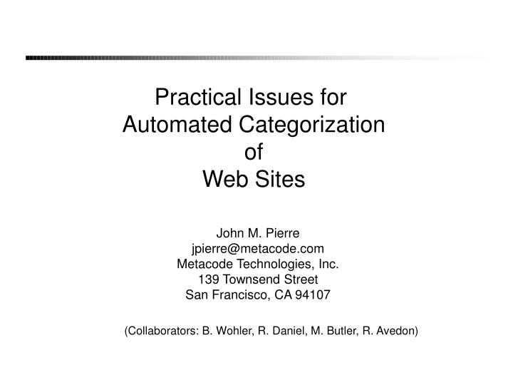 practical issues for automated categorization n.
