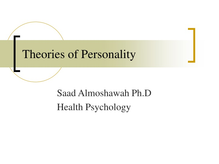 theories of personality n.