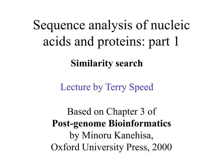 sequence analysis of nucleic acids and proteins part 1 n.